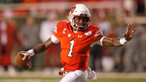 <p>               Utah quarterback Tyler Huntley (1) carries the ball in the second half of an NCAA college football game against Washington State Saturday, Sept. 28, 2019, in Salt Lake City. (AP Photo/Rick Bowmer)             </p>