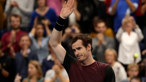 <p>               Andy Murray of Britain reacts after winning the European Open final tennis match in Antwerp, Belgium, Sunday, Oct. 20, 2019. Murray defeated Stan Wawrinka of Switzerland 3-6/6-4/6-4. (AP Photo/Francisco Seco)             </p>