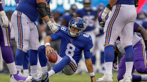 <p>               New York Giants quarterback Daniel Jones (8) is helped up off the turf after being sacked by the Minnesota Vikings during the third quarter of an NFL football game, Sunday, Oct. 6, 2019, in East Rutherford, N.J. (AP Photo/Adam Hunger)             </p>