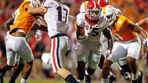 <p>               Georgia running back Brian Herrien (35) runs for yardage in the second half of an NCAA college football game against Tennessee, Saturday, Oct. 5, 2019, in Knoxville, Tenn. (AP Photo/Wade Payne)             </p>