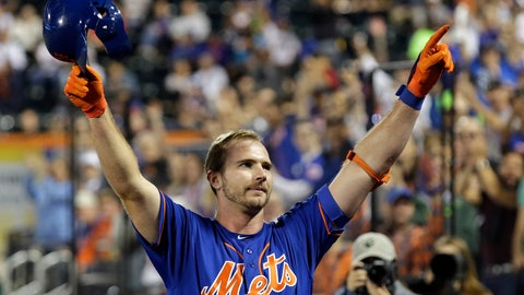 <p>               New York Mets' Pete Alonso takes a curtain call after hitting his 52nd home run of the season during the first inning of a baseball game against the Atlanta Braves, Friday, Sept. 27, 2019, in New York. (AP Photo/Adam Hunger)             </p>