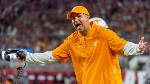 <p>               Tennessee head coach Jeremy Pruitt yells at the officials during the first half of an NCAA college football game against Alabama, Saturday, Oct. 19, 2019, in Tuscaloosa, Ala. (AP Photo/Vasha Hunt)             </p>