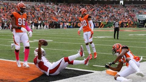 <p>               Arizona Cardinals quarterback Kyler Murray (1) leaps in for a touchdown against Cincinnati Bengals cornerback William Jackson (22) in the first half of an NFL football game, Sunday, Oct. 6, 2019, in Cincinnati. (AP Photo/Gary Landers)             </p>