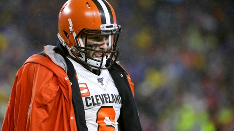 <p>               Cleveland Browns quarterback Baker Mayfield walks on the sideline in the second half of an NFL football game against the New England Patriots, Sunday, Oct. 27, 2019, in Foxborough, Mass. (AP Photo/Steven Senne)             </p>