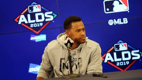 <p>               New York Yankees pitcher Luis Severino ponders a question from the media Sunday, Oct. 6, 2019, in Minneapolis as the team prepares for Game 3 of the American League Division Series baseball playoffs against the Minnesota Twins. (AP Photo/Jim Mone)             </p>