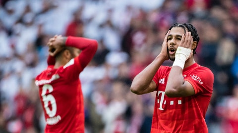 <p>               In this Saturday, Oct. 5, 2019 photo Bayern's player Serge Gnabry, right, reacts after the German Bundesliga socvcer match between FC Bayern Munich and 1899 Hoffenheim in Munich, Germany. Bayern Munich's first defeat of the season has exposed old problems that a 7-2 rout of Tottenham had helped cover up only days before. (Matthias Balk/dpa via AP)             </p>