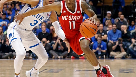 <p>               FILE - In this Feb. 16, 2019, file photo, North Carolina State's Markell Johnson (11) drives against Duke's Tre Jones (3) during the first half of an NCAA college basketball game, in Durham, N.C. Johnson is the top returning scorer for the Wolfpack and is a preseason all-Atlantic Coast Conference second-team pick. (AP Photo/Chris Seward, File)             </p>