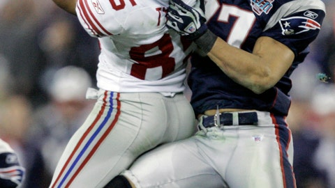 """<p>               FILE - In this Feb. 3, 2008, file photo, New York Giants receiver David Tyree (85) catches a 32-yard pass in the clutches of New England Patriots safety Rodney Harrison (37) during the fourth quarter of the NFL football Super Bowl XLII in Glendale, Ariz. The game was highlighted by Tyree's miraculous """"Helmet Catch"""" for 32-yards. (AP Photo/Gene Puskar, File)             </p>"""