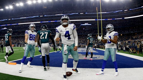 <p>               Dallas Cowboys quarterback Dak Prescott (4), Blake Jarwin (89), Randall Cobb (18) celebrate a touchdown scored by Prescott on a running play as Philadelphia Eagles' Malcolm Jenkins (27) walks away in the second half of an NFL football game in Arlington, Texas, Sunday, Oct. 20, 2019. (AP Photo/Ron Jenkins)             </p>