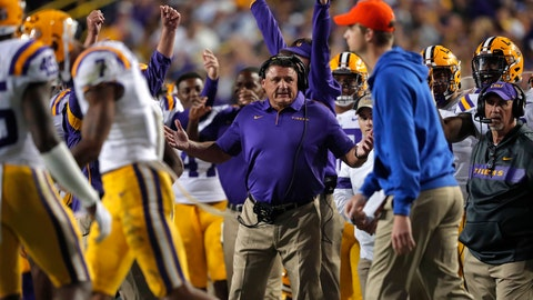 <p>               LSU head coach Ed Orgeron reacts on the bench on the sideline during the second half of the team's NCAA college football game against Florida in Baton Rouge, La., Saturday, Oct. 12, 2019. LSU won 42-28. (AP Photo/Gerald Herbert)             </p>