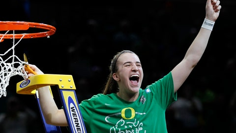 <p>               FILE - In this March 31, 2019, file photo, Oregon guard Sabrina Ionescu celebrates a regional final victory over Mississippi State in the NCAA women's college basketball tournament in Portland, Ore. Oregon is No. 1 for the first time in school history while Tennessee's streak of 42 straight appearances in The Associated Press preseason Top 25 is over. The Ducks, led by sensational guard Sabrina Ionescu, garnered 25 of the 28 first-place votes from the national media panel to earn the top ranking in the poll released Wednesday, Oct. 30, 2019. (AP Photo/Steve Dipaola)             </p>