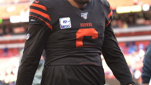 <p>               Cleveland Browns quarterback Baker Mayfield walks off the field after the Seattle Seahawks defeated his team in an NFL football game, Sunday, Oct. 13, 2019, in Cleveland. (AP Photo/David Richard)             </p>