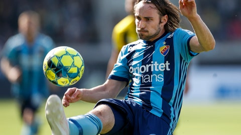<p>               FILE - In this April 21, 2019 file photo, Djurgardens player Kevin Walker controls the ball during the soccer match between BK Hacken and Djurgardens IF at Bravida Arena, Goteborg. Swedish soccer player Kevin Walker was thrust into the national consciousness when he won the country's biggest reality talent show in 2013 but he chose to stay in soccer rather than chase more music fame. (Nils Petter Nilsson/TT via AP, File)             </p>