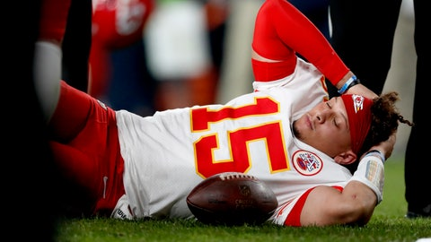 <p>               Kansas City Chiefs quarterback Patrick Mahomes (15) lies on the field after being injured against the Denver Broncos during the first half of an NFL football game, Thursday, Oct. 17, 2019, in Denver. (AP Photo/David Zalubowski)             </p>