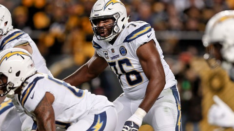 <p>               FILE - In this Dec. 2, 2018, file photo, Los Angeles Chargers offensive tackle Russell Okung (76) plays against the Pittsburgh Steelers in an NFL football game in Pittsburgh. Okung took part in his first practice since June 1, 2019, when he suffered a pulmonary embolism during an offseason workout at the team facility. He is being treated for blood clots and has been on the non-football injury list. (AP Photo/Don Wright, File)             </p>