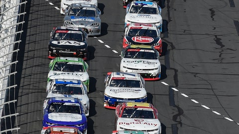 <p>               Chase Briscoe (98) and Tyler Reddick (2) lead the field to the start of the NASCAR Xfinity Series auto race at Charlotte Motor Speedway, Saturday, Sept. 28, 2019, in Concord, N.C. (AP Photo/Mike McCarn)             </p>