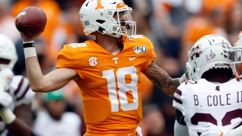 <p>               Tennessee quarterback Brian Maurer (18) throws to a receiver in the first half of an NCAA college football game against Mississippi State, Saturday, Oct. 12, 2019, in Knoxville, Tenn. (AP Photo/Wade Payne)             </p>