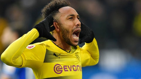 <p>               FILE - In this Saturday, Nov. 25, 2017 file photo Dortmund's then-striker Pierre-Emerick Aubameyang celebrates scoring the opening goal during the German Bundesliga soccer match between Borussia Dortmund and FC Schalke 04 in Dortmund, Germany. Former Borussia Dortmund striker Pierre-Emerick Aubameyang has called the club's chief executive Hans-Joachim Watzke 'a clown' for appearing to suggest he joined Arsenal for money. (AP Photo/Martin Meissner, file)             </p>
