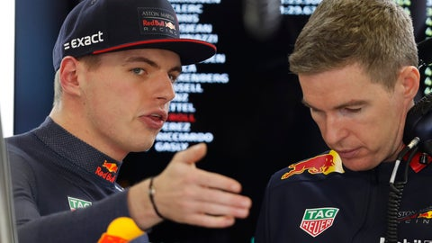 <p>               Red Bull driver Max Verstappen, of the Netherlands, talks to a member of his team during the final practice session for the Formula One Mexico Grand Prix auto race at the Hermanos Rodriguez racetrack in Mexico City, Saturday, Oct. 26, 2019. (AP Photo/Eduardo Verdugo)             </p>