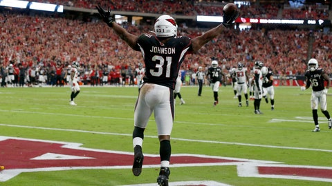 <p>               Arizona Cardinals running back David Johnson (31) celebrates his touchdown against the Atlanta Falcons during the second half of an NFL football game, Sunday, Oct. 13, 2019, in Glendale, Ariz. (AP Photo/Rick Scuteri)             </p>