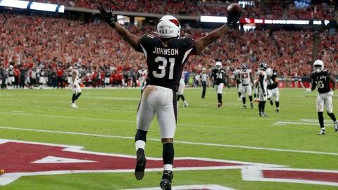 <p>               Arizona Cardinals running back David Johnson (31) celebrates his touchdown against the Atlanta Falcons during the second half of an NFL football game, Sunday, Oct. 13, 2019, in Glendale, Ariz. (AP Photo/Rick Scuteri)             </p>