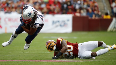<p>               New England Patriots fullback Jakob Johnson (47)- is tripped up by Washington Redskins strong safety Landon Collins (20) during the first half of an NFL football game, Sunday, Oct. 6, 2019, in Landover, Md. (AP Photo/Patrick Semansky)             </p>