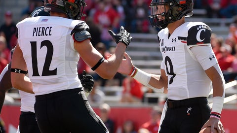 <p>               Cincinnati quarterback Desmond Ridder, right, celebrates his touchdown with Alec Pierce during the first half of an NCAA college football game against Houston, Saturday, Oct. 12, 2019, in Houston. (AP Photo/Eric Christian Smith)             </p>
