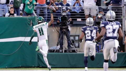 <p>               New York Jets' Robby Anderson (11) reacts as he scores a touchdown during the first half of an NFL football game against the Dallas Cowboys, Sunday, Oct. 13, 2019, in East Rutherford, N.J. (AP Photo/Frank Franklin II)             </p>