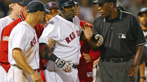 <p>               FILE - In this Aug. 17, 2004, file photo, Boston Red Sox David Ortiz, center, is restrained by teammates and umpire Chuck Meriwether after being hit by a pitch from Toronto Blue Jays pitcher Ted Lilly during the seventh inning of a baseball game at Fenway Park in Boston. Meriwether, a former major league umpire who had been ill with cancer, died Saturday, Oct. 26, 2019, at his home in Nashville, Tenn. He was 63. Meriwether called his first big league game in 1987, was promoted to the full-time American League staff in 1993 and worked for 18 years. He then became a major league umpire supervisor for nine years. (AP Photo/Winslow Townson, File)             </p>
