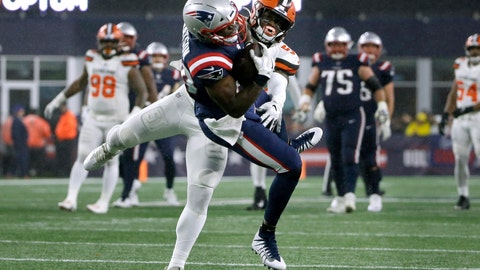 <p>               New England Patriots tight end Benjamin Watson catches a pass in front of Cleveland Browns linebacker Mack Wilson in the second half of an NFL football game, Sunday, Oct. 27, 2019, in Foxborough, Mass. (AP Photo/Steven Senne)             </p>