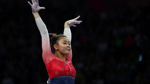 <p>               Sunisa Lee of the U.S. performs on the balance beam during women's team final at the Gymnastics World Championships in Stuttgart, Germany, Tuesday, Oct. 8, 2019. (AP Photo/Matthias Schrader)             </p>