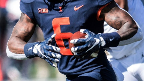 <p>               Illinois' Dominic Stampley (6) runs the ball in the second half of an NCAA college football game against Michigan, Saturday, Oct. 12, 2019, in Champaign, Ill. (AP Photo/Holly Hart)             </p>
