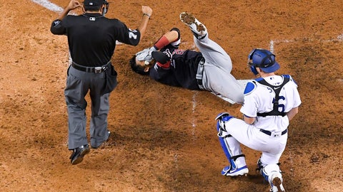 <p>               Washington Nationals' Kurt Suzuki (28) holds his head after being hit by a pitch from Los Angeles Dodgers' Walker Buehler during the seventh inning in Game 5 of a baseball National League Division Series on Wednesday, Oct. 9, 2019, in Los Angeles. (AP Photo/Mark J. Terrill)             </p>