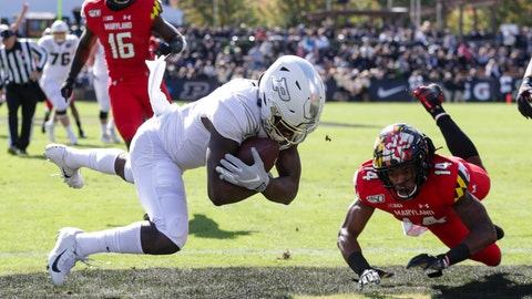 <p>               Purdue wide receiver David Bell (3) makes a catch for a touchdown over Maryland defensive back Deon Jones (14) during the first half of an NCAA college football game in West Lafayette, Ind., Saturday, Oct. 12, 2019. (AP Photo/Michael Conroy)             </p>