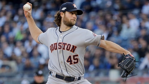 <p>               Houston Astros starting pitcher Gerrit Cole (45) delivers against the New York Yankees during the first inning of Game 3 of baseball's American League Championship Series, Tuesday, Oct. 15, 2019, in New York. (AP Photo/Frank Franklin II)             </p>