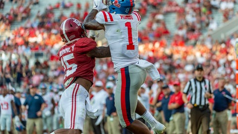 <p>               Mississippi wide receiver Jonathan Mingo (1) grabs a touchdown pass over Alabama defensive back Xavier McKinney (15) during the second half of an NCAA college football game, Saturday, Sept. 28, 2019, in Tuscaloosa, Ala. (AP Photo/Vasha Hunt)             </p>