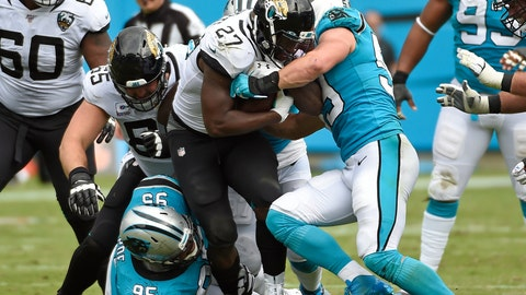 <p>               Carolina Panthers defensive tackle Dontari Poe (95) and middle linebacker Luke Kuechly (59) tackle Jacksonville Jaguars running back Leonard Fournette (27) during the second half of an NFL football game in Charlotte, N.C., Sunday, Oct. 6, 2019. (AP Photo/Mike McCarn)             </p>