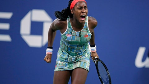 <p>               FILE - In this Aug. 29, 2019, file photo, Coco Gauff, of the United States, celebrates after defeating Timea Babos, of Hungary, in the second round of the U.S. Open tennis tournament in New York. The American teenager advanced to her first WTA final by beating Andrea Petkovic 6-4, 6-4 on Saturday, Oct. 12, 2019, at the Upper Austria Ladies in Linz, Austria. (AP Photo/Charles Krupa, File)             </p>