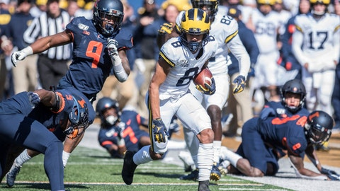 <p>               Michigan's Ronnie Bell (8) run after a pass reception in the first half of an NCAA college football game against Illinois, Saturday, Oct. 12, 2019, in Champaign, Ill. (AP Photo/Holly Hart)             </p>