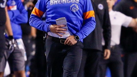 <p>               Boise State coach Bryan Harsin watches during the second half of the team's NCAA college football game against Air Force, Friday, Sept. 20, 2019, in Boise, Idaho. Boise State won 30-19. (AP Photo/Steve Conner)             </p>
