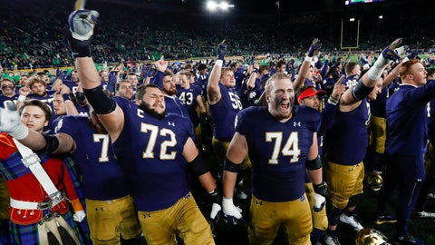 <p>               Notre Dame offensive linemen Robert Hainsey (72) and Liam Eichenberg (74) celebrate after defeating Southern California in an NCAA college football game in South Bend, Ind., Saturday, Oct. 12, 2019. (AP Photo/Paul Sancya)             </p>
