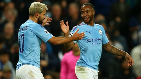 <p>               Manchester City's Raheem Sterling, left, celebrates with his teammate Sergio Aguero after scoring his side's fifth goal, during the group C Champions League soccer match between Manchester City and Atalanta at the Etihad Stadium in Manchester, England, Tuesday, Oct. 22, 2019. (AP Photo/Dave Thompson)             </p>