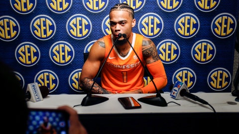 <p>               Tennessee's Lamonte Turner speaks during the Southeastern Conference NCAA college basketball media day, Wednesday, Oct. 16, 2019, in Birmingham, Ala. (AP Photo/Butch Dill)             </p>