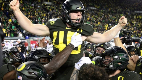 <p>               Oregon kicker Camden Lewis is carried off the field by his teammates after kicking the winning field goal against Washington State in an NCAA college football game Saturday, Oct. 26, 2019, in Eugene, Ore. (AP Photo/Chris Pietsch)             </p>