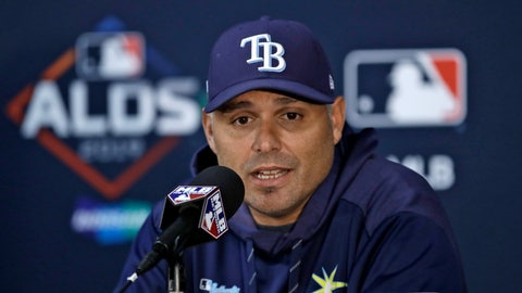 <p>               Tampa Bay Rays manager Kevin Cash answers a question during a news conference Sunday, Oct. 6, 2019, in St. Petersburg, Fla. The Rays take on the Houston Astros in Game 3 of a baseball American League Division Series on Monday. (AP Photo/Chris O'Meara)             </p>