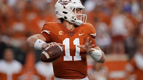 <p>               Texas's Sam Ehlinger (11) looks to pass against the Kansas during the first half of an NCAA college football game in Austin, Texas, Saturday, Oct. 19, 2019. (AP Photo/Chuck Burton)             </p>