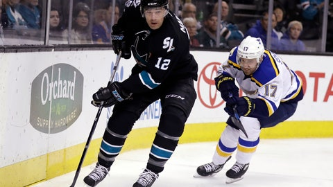 <p>               FILE - In this March 16, 2017, file photo, San Jose Sharks' Patrick Marleau (12) skates with the puck during the first period of the team's NHL hockey game against the St. Louis Blues in San Jose, Calif. Marleau is returning to San Jose. General manager Doug Wilson announced Tuesday, Oct. 8, 2019, that the Sharks' all-time leader in games, goals and points is returning to his original team after spending the past two seasons in Toronto. (AP Photo/Marcio Jose Sanchez, File)             </p>