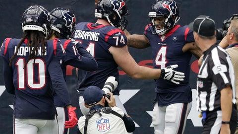 <p>               Houston Texans quarterback Deshaun Watson (4) celebrates his touchdown run against the Carolina Panthers during the second half of an NFL football game Sunday, Sept. 29, 2019, in Houston. (AP Photo/Michael Wyke)             </p>