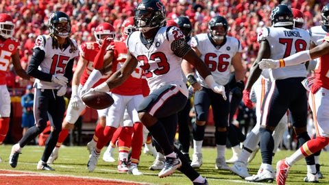 <p>               Houston Texans running back Carlos Hyde (23) scores a touchdown during the first half of an NFL football game against the Kansas City Chiefs in Kansas City, Mo., Sunday, Oct. 13, 2019. (AP Photo/Ed Zurga)             </p>