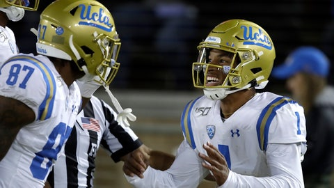 <p>               UCLA quarterback Dorian Thompson-Robinson, right, celebrates with Jordan Wilson (87) after scoring a touchdown against Stanford during the first half of an NCAA college football game Thursday, Oct. 17, 2019, in Stanford, Calif. (AP Photo/Ben Margot)             </p>